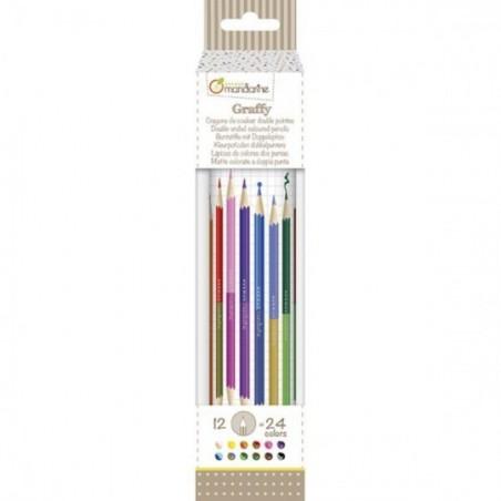 Crayons de couleur double pointe (12 pièces)